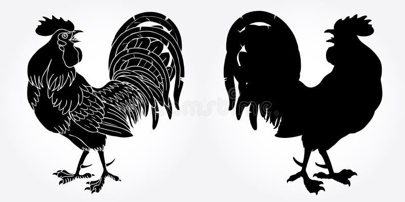 Silhouette ardante de noir de coq photos stock