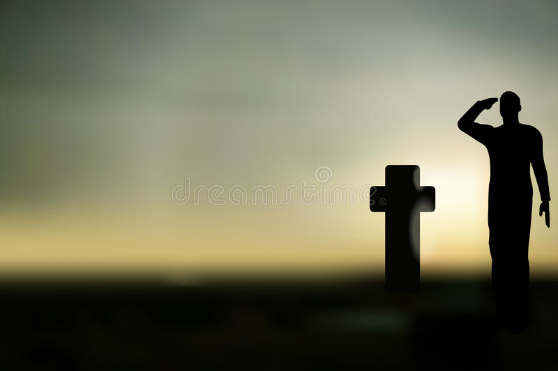 Silhouette of an army soldier saluting stock illustration
