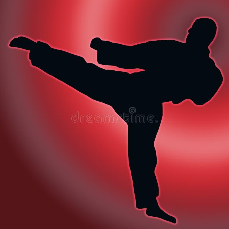 Silhouette arrière de sport de rouge - énergie de karaté illustration stock