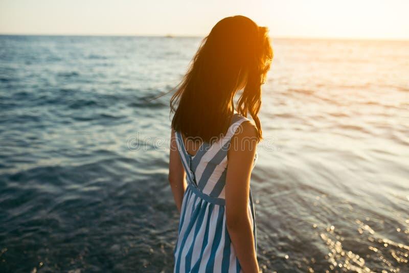 Silhouette arrière de vue femme de brune de portrait de la belle de plain-pied image stock