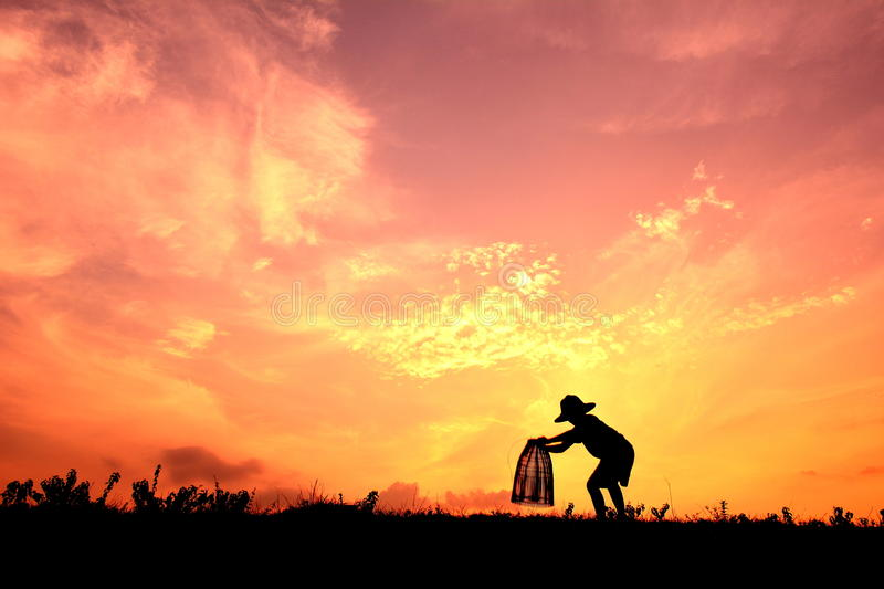 Silhouette Asian boy fishing stock images