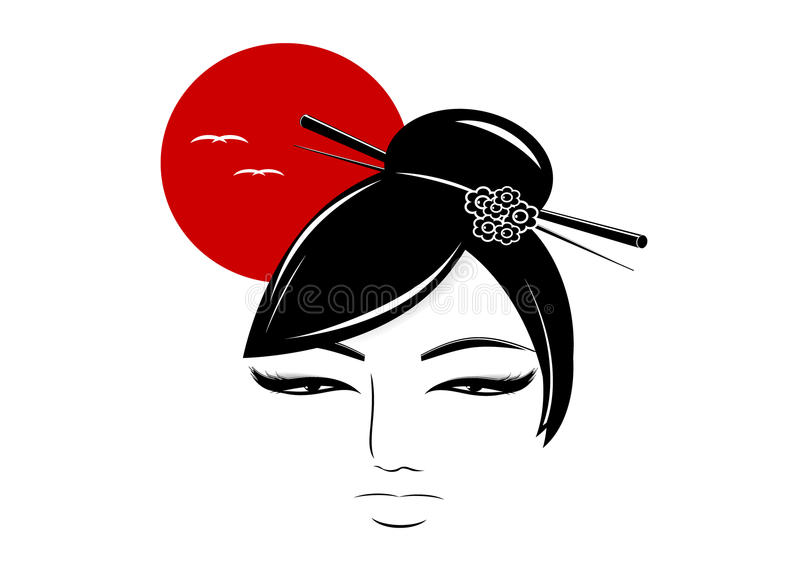 Silhouette of the Asian woman. vector illustration