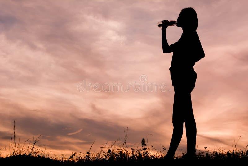 Silhouette of asian women royalty free stock photos