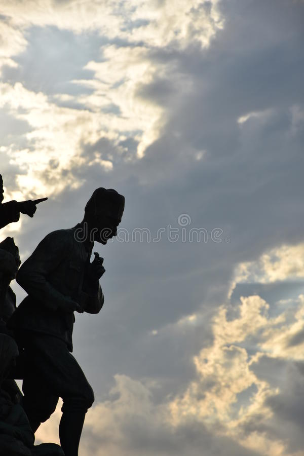Silhouette of a Ataturk. Turkey Coulds sculpture royalty free stock photos