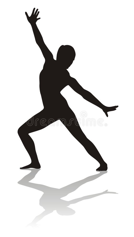 Silhouette of athelete. Silhouette of woman (with shadow