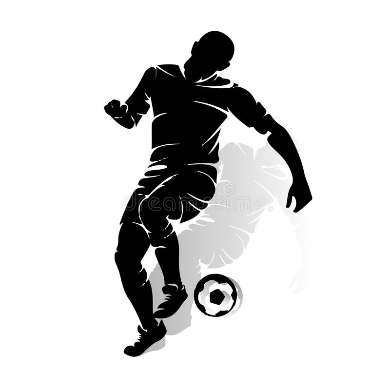 Silhouette of an athlete soccer player playing with a ball, on a vector illustration