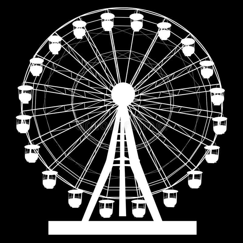 Silhouette atraktsion colorful ferris wheel on black background illustration stock illustration