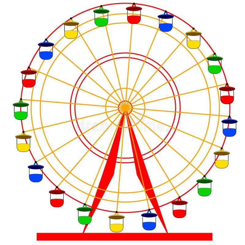 Silhouette atraktsion colorful ferris wheel stock illustration