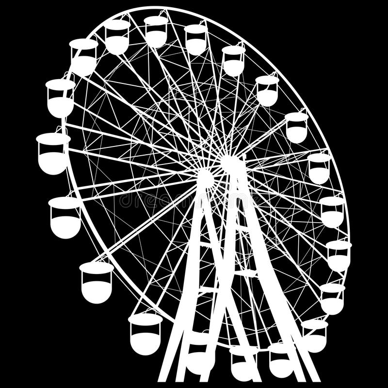 Silhouette atraktsion colorful ferris wheel. Vector illustration royalty free illustration