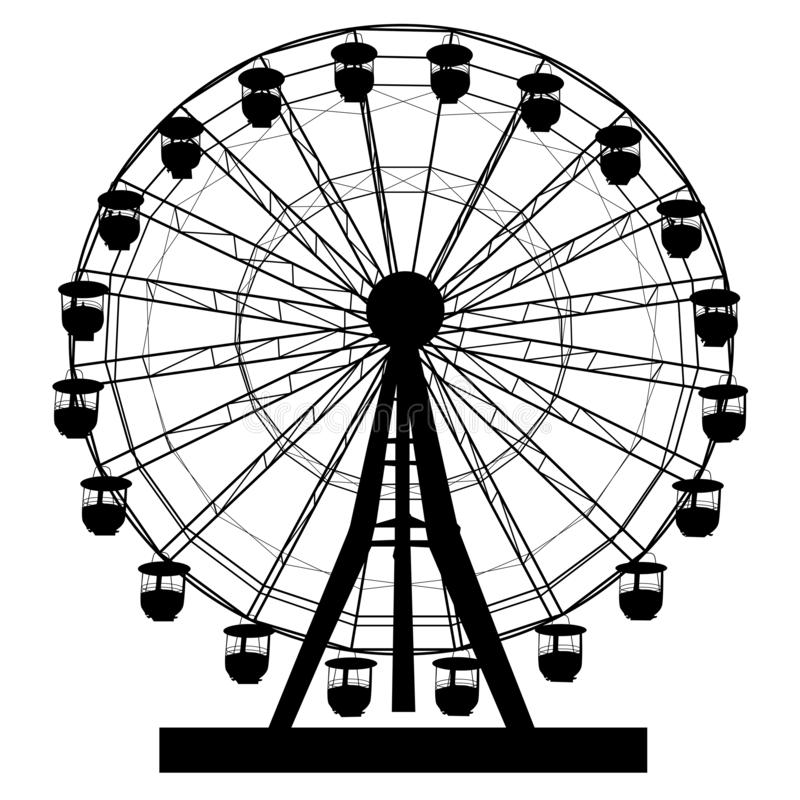 Silhouette atraktsion colorful ferris wheel on white background illustration stock illustration