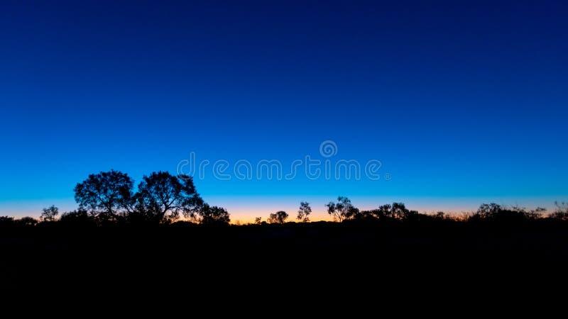 Silhouette australiano Outback em frente a um céu ensolarado tardio imagem de stock royalty free