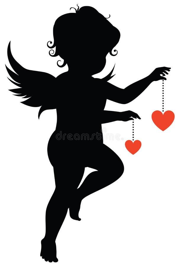 Silhouette av ängeln royaltyfri illustrationer