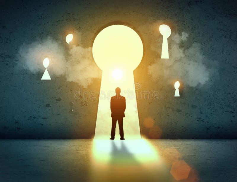Silhouette av affärsmannen i keyhole vektor illustrationer