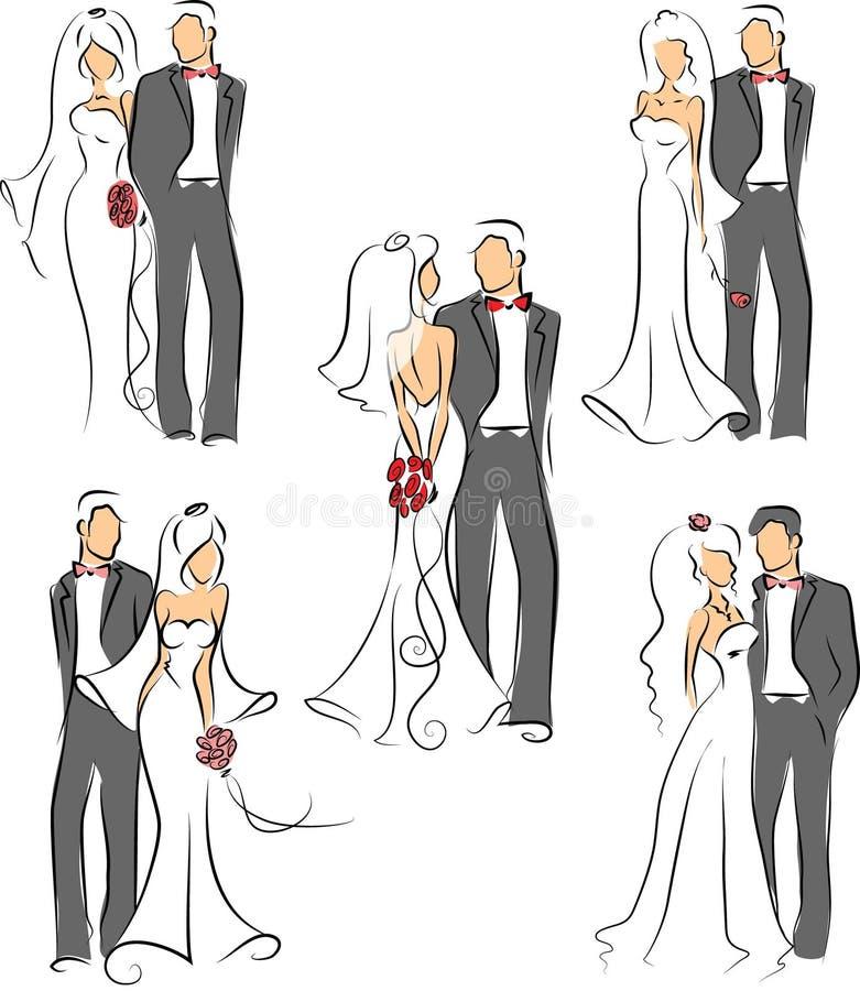 Silhouette av bruden och brudgummen royaltyfri illustrationer