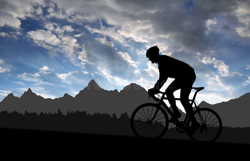 Silhouette av cyklisten vektor illustrationer