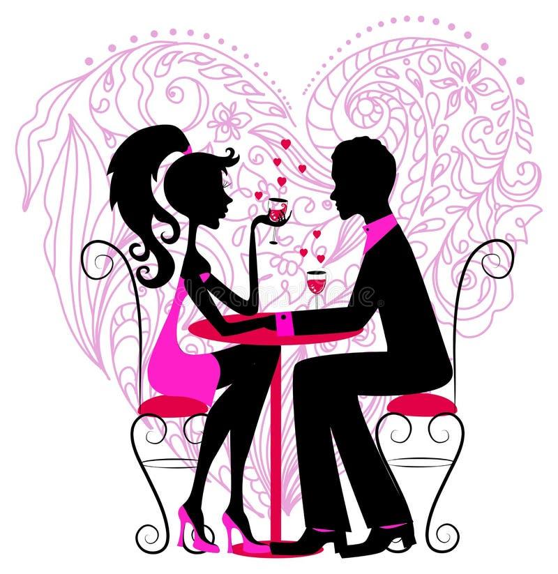 Silhouette av de romantiska paren över hjärta royaltyfri illustrationer