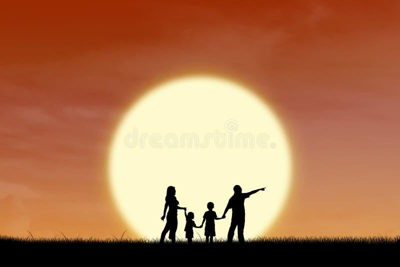 Lycklig familj på solnedgångsilhouette stock illustrationer