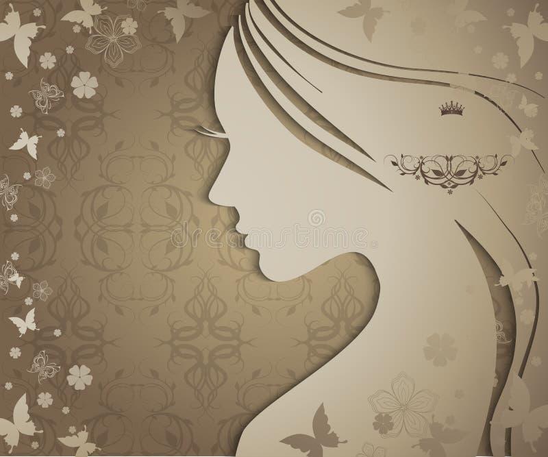 Silhouette av den unga kvinnan royaltyfri illustrationer