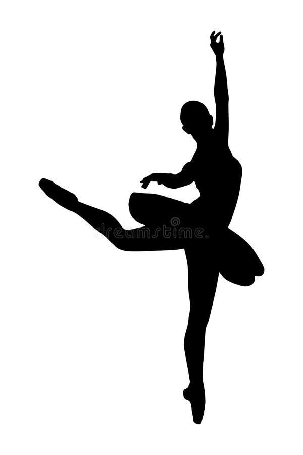 Silhouette av en ballerinadansare som gör en balett vektor illustrationer