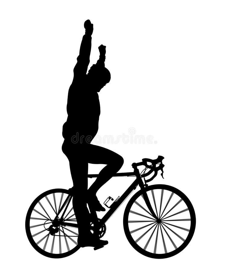 Silhouette av en cyklist royaltyfri illustrationer