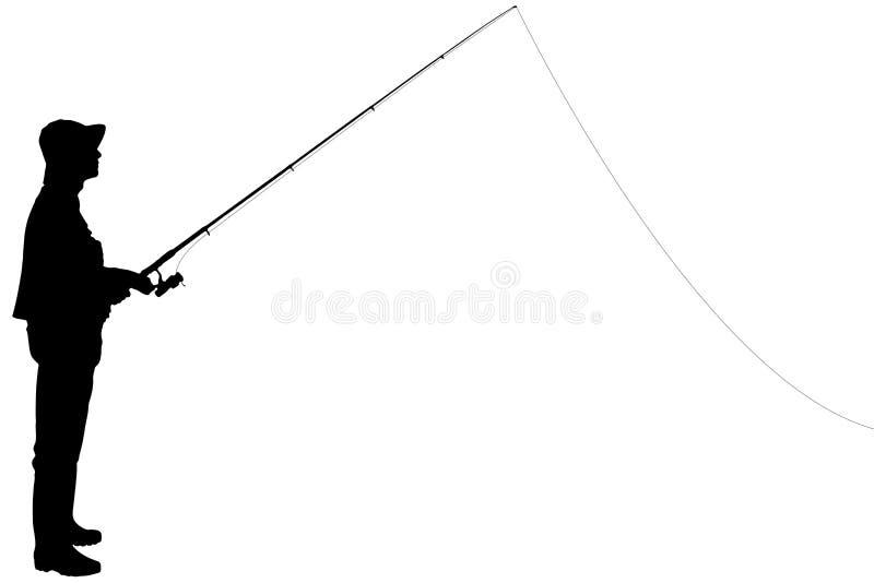 Silhouette av en fiskare som rymmer en fiskepol stock illustrationer