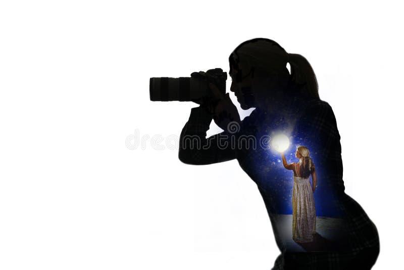Silhouette av fotografen stock illustrationer