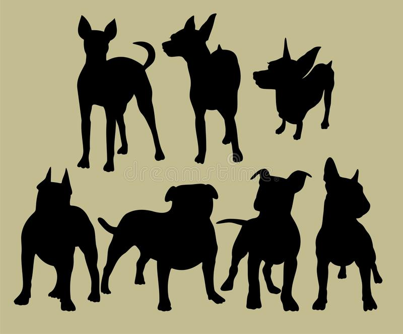 Silhouette av hundkapplöpningen stock illustrationer