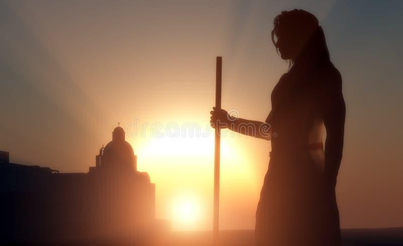 Silhouette av Jesus royaltyfri illustrationer