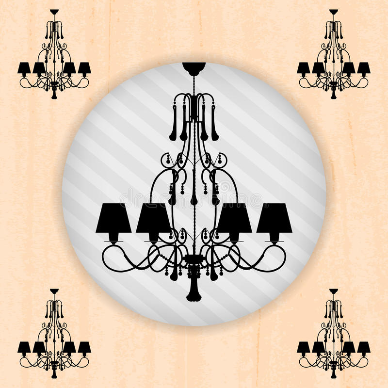 Silhouette av ljuskronan på den peachy wallpaperen vektor illustrationer