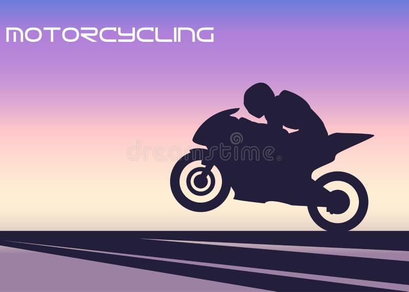 Silhouette av motorcyclisten royaltyfria foton