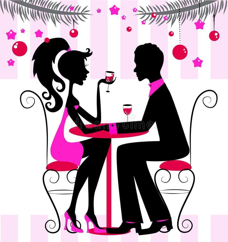 Silhouette av paren, romantisk matställe för nytt år royaltyfri illustrationer