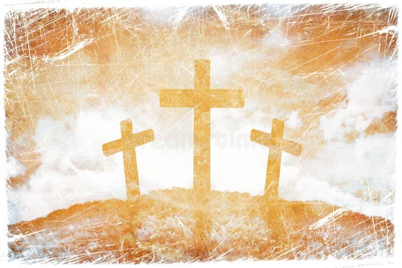 Silhouette av tre kors arkivfoto