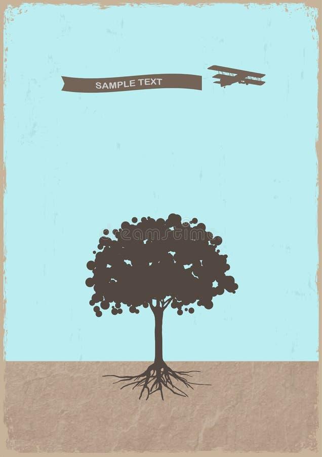 Silhouette av treen och den gammala nivån på grungepapper royaltyfri illustrationer