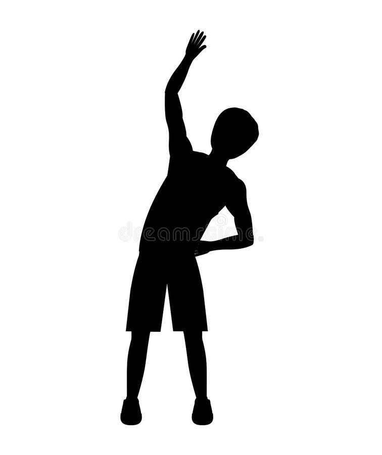 Silhouette avec l'exercice de hanche de l'homme illustration de vecteur