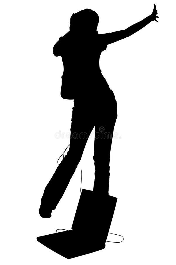 Silhouette avec la danse de l'adolescence de fille de chemin de découpage avec l'ordinateur portatif et illustration stock