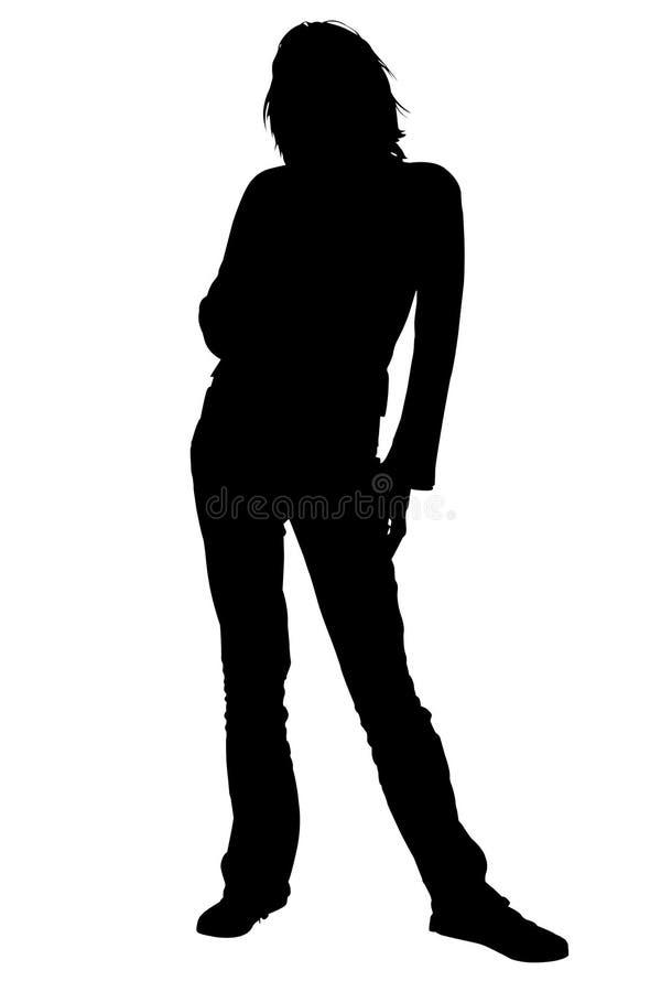 Silhouette avec la position de femme de chemin de découpage illustration libre de droits