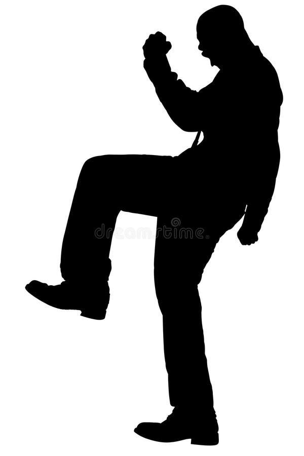 Silhouette avec le chemin de découpage de l'homme frappant du pied illustration de vecteur
