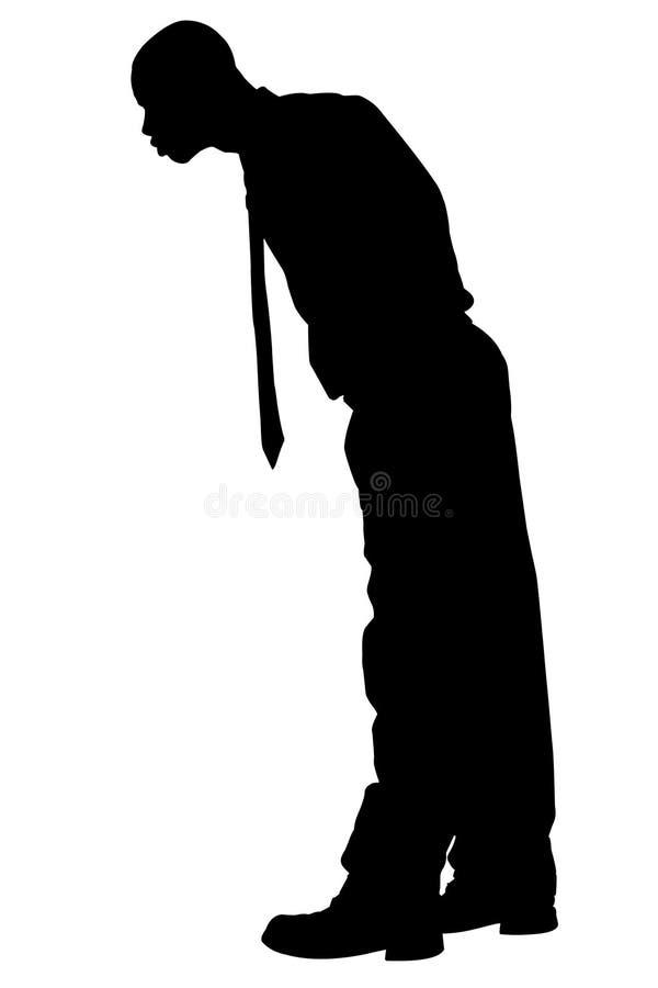 Silhouette avec le chemin de découpage de l'homme regardant au-dessus du bord illustration libre de droits