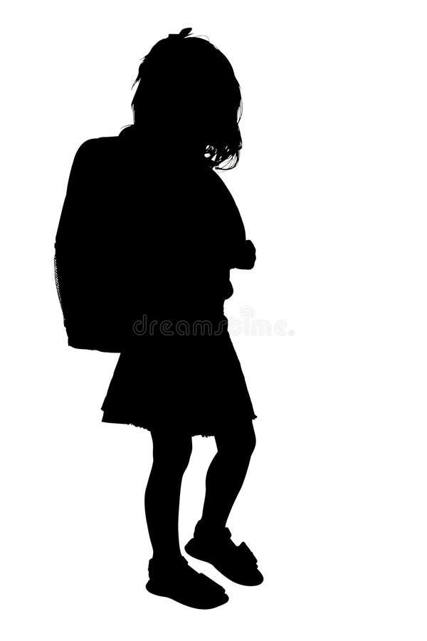Silhouette avec le chemin de découpage de la jeune fille avec le sac à dos illustration stock