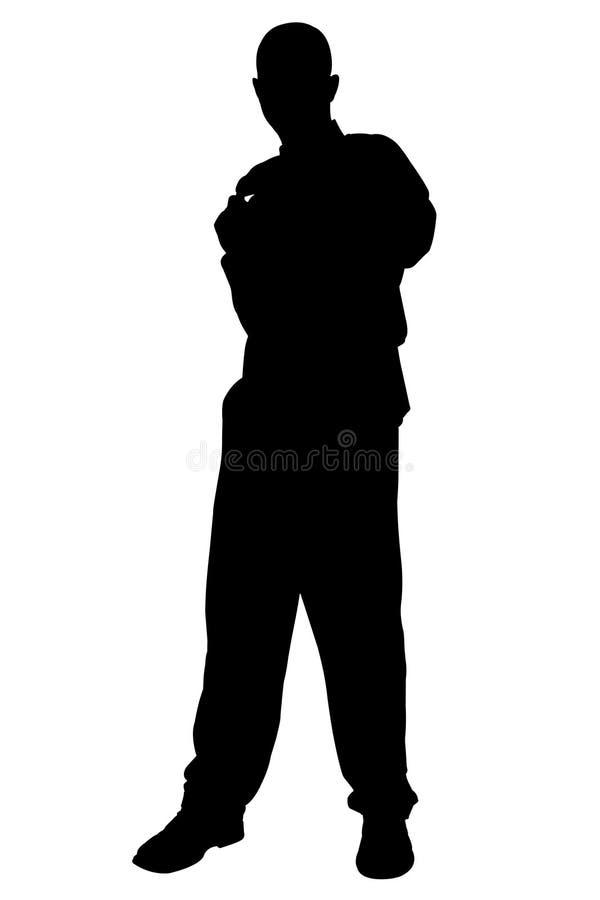 Silhouette avec le chemin de découpage de la position de l'homme illustration de vecteur