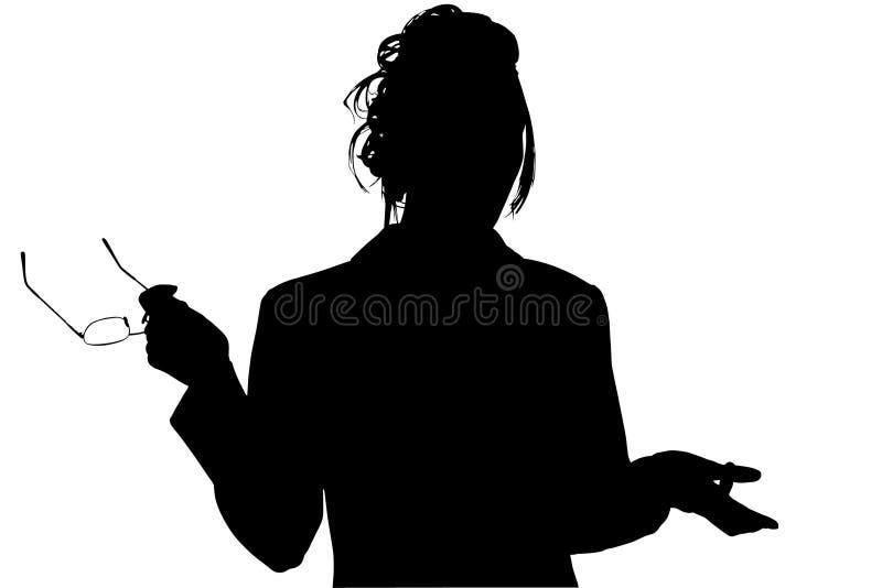Silhouette avec le chemin de découpage du femme avec des glaces image stock