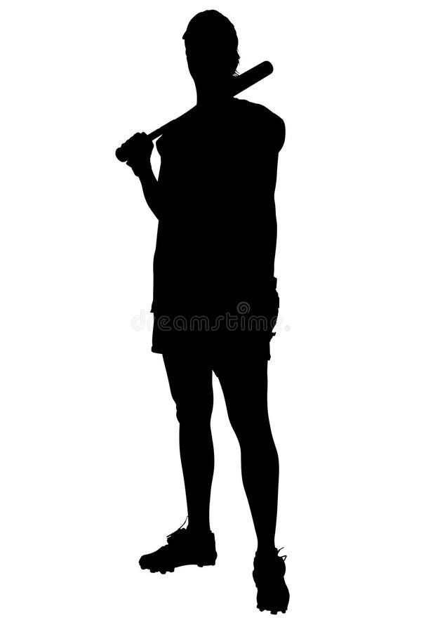 Silhouette avec le chemin de découpage du joueur de base-ball féminin illustration de vecteur