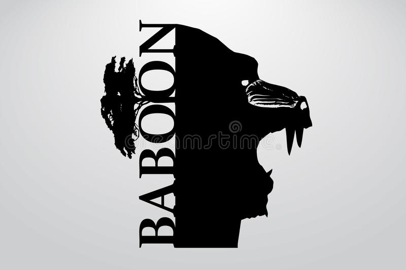 Silhouette of a baboon. Background and text on a separate layer, color can be changed in one click royalty free illustration