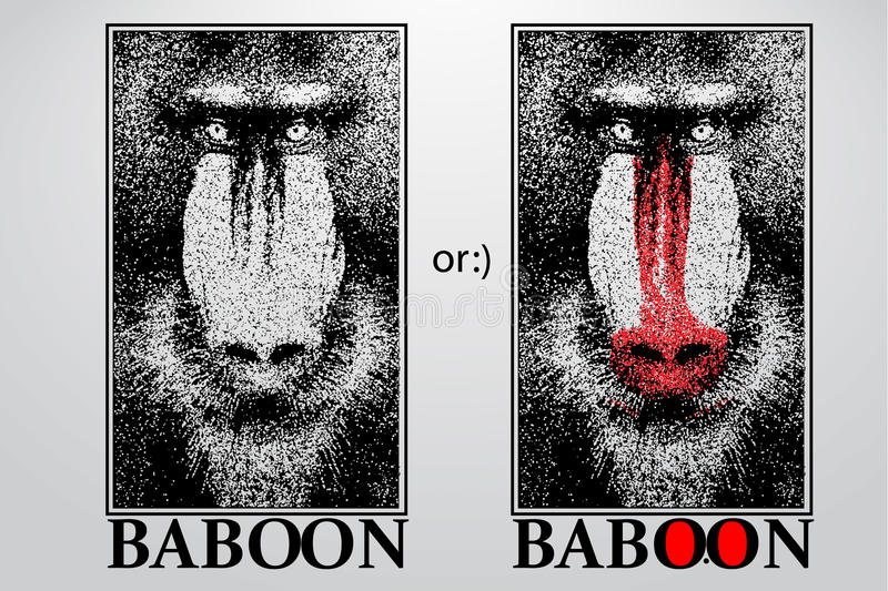 Silhouette of a baboon from particles. Background and text on a separate layer, color can be changed in one click stock illustration