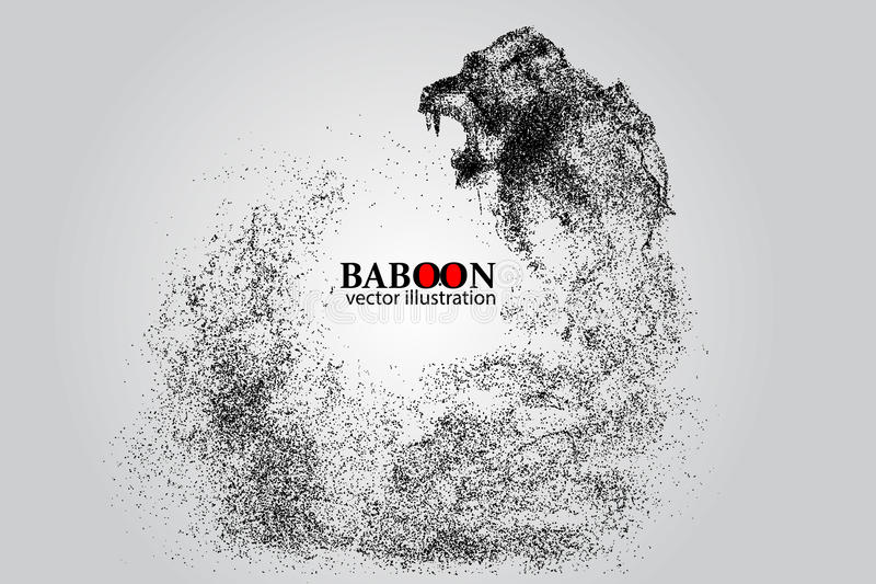 Silhouette of a baboon from particles. Background and text on a separate layer, color can be changed in one click royalty free illustration