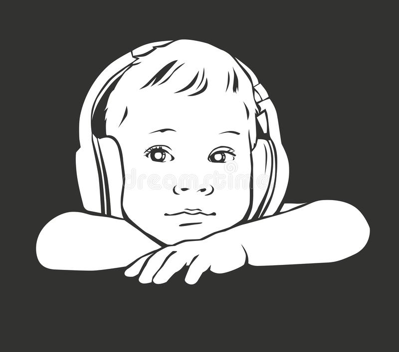 Silhouette baby in headphones royalty free stock images