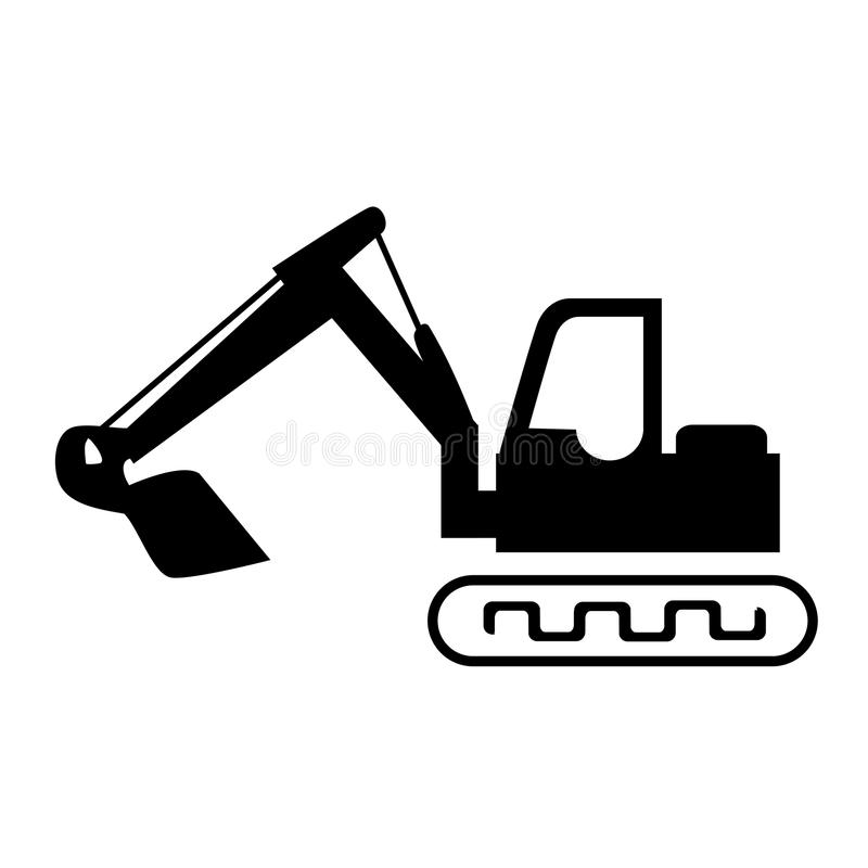 Silhouette backhoe with crane for construction stock illustration
