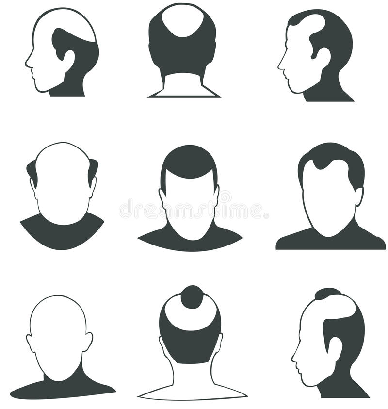 Silhouette Bald heads vector collection vector illustration