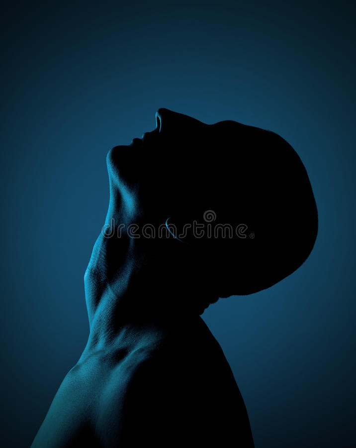 Silhouette Of A Bald Man stock image
