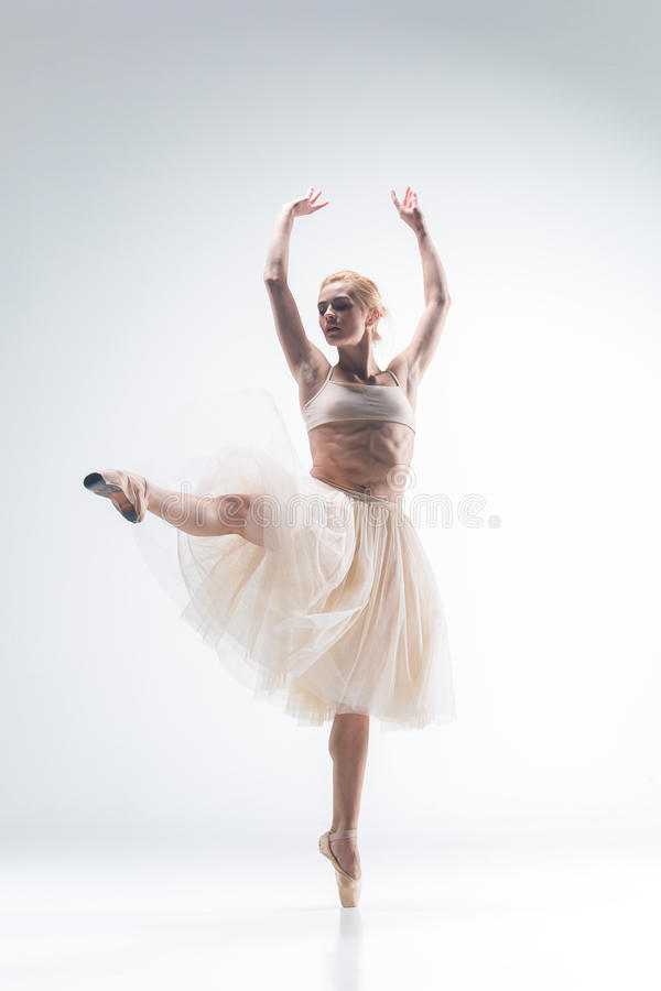 The silhouette of ballerina on white background royalty free stock photography